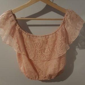 Light pink Charlotte Russe blouse/crop top